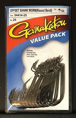 New Gamakatsu 4/0 Offset Shank Worm Round Bend Value Pack 25 Fish Hooks