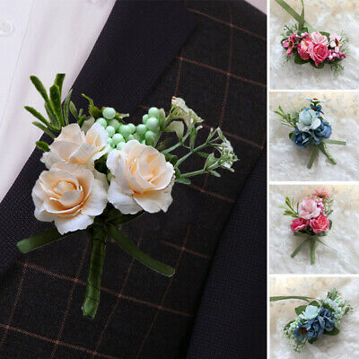Artificial Rose Bridal Wrist Flower Boutonniere Corsage Pin Brooch Bridesmaid