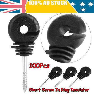 100x Screw In Electric Fence Wood Timber Post Insulators tape cord wire fence