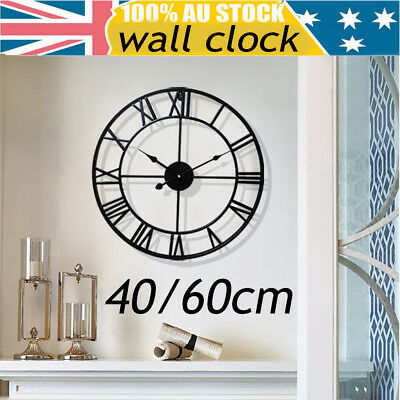 40/60cm Large Wall Clock Metal Industrial Iron Vintage French Provincial Antique