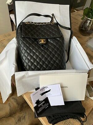 467c0e4219bb Authentic RARE CHANEL Lambskin Quilted Urban Spirit Backpack In Black -  LARGE SZ