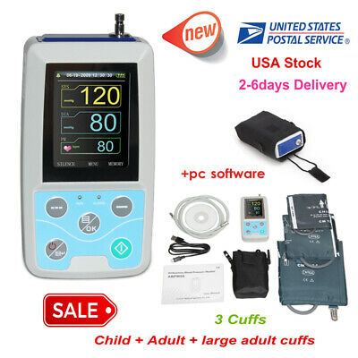 CONTEC Ambulatory Blood Pressure Monitor 3 Cuffs+USB Software,24hour NIBP Holter