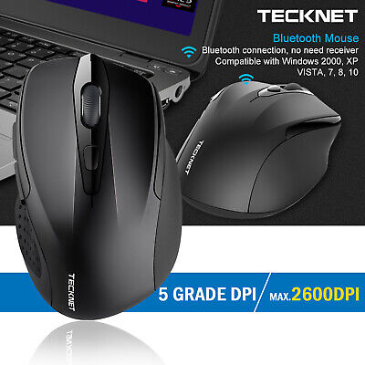 TeckNet Bluetooth Wireless Mouse 2.4G 6 Buttons 2600DPI Adjustable for Laptop PC