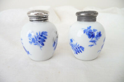 Vintage Art Deco Blue & White Pair 925 Silver Top Pepperettes Thomas Germany