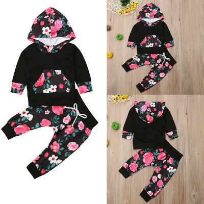 Spring Newborn Baby Girls Floral Hooded Tops Pants Harem Outfits Set Clothes