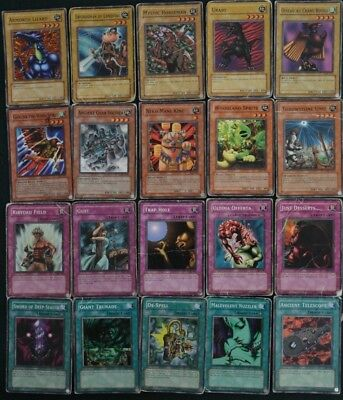 Yu Gi Oh 20 Heavy Damaged cards lot- common- old cards