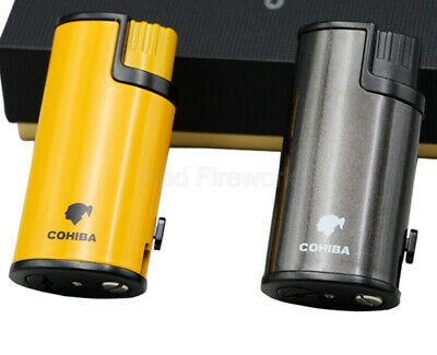 COHIBA Cigar Cigarette Metal Lighter 3 Torch Jet Flame Classic W/Cigar Punch