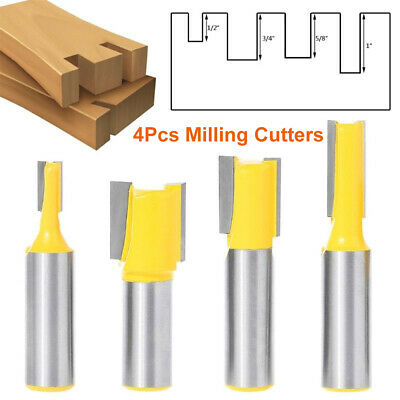 4Pc Straight Router Bits Set 1/2 Inch Shank Trimming Slot Cutter For Woodworking