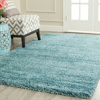 4 Sizes DUCK EGG BLUE THICK PLAIN SOFT SHAGGY RUG NON SHED RUGS FLOOR MAT CARPET