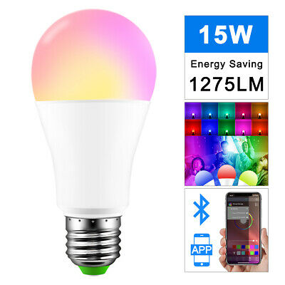 15W Bluetooth Dimmable Smart RGB E27 Music Voice APP Control LED Light Bulb HOT