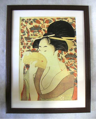 Japanese Woodblock Ukiyoe Woman with Comb(Kushi o motsu onna) by Utamaro modern