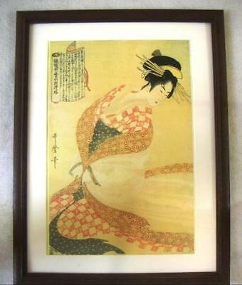 Japanese Woodblock Printed Ukiyoe The White Surcoat (Shira-uchikake) Utamaro