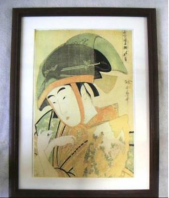 Japanese Woodblock Printed Ukiyoe Sparrow of Yoshiwara by Utamaro picture modern