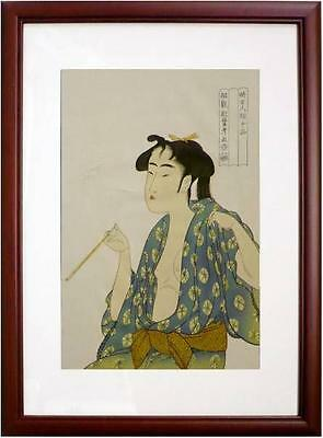 Japanese Woodblock Printed Ukiyoe The woman who has smoke Utamaro picture modern