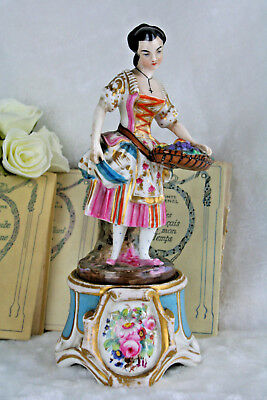 "Rare 19c Antique attr Jacob Petit Old Paris Porcelain 10.6"" Figurine Lady"