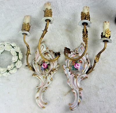 PAIR italian capodimonte porcelain Floral sconces wall lights 1960 marked