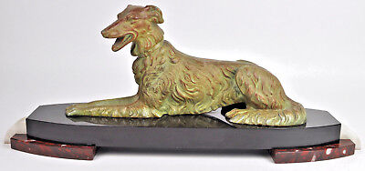 XL ART DECO 1930 French Whippet greyhound Spelter green bronze patina marble