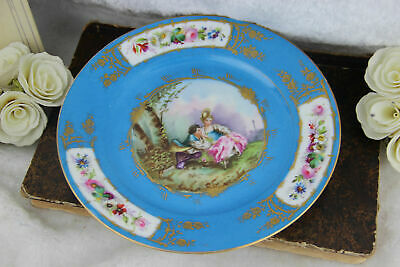 Antique French Sevres porcelain marked romantic victorian scene plate