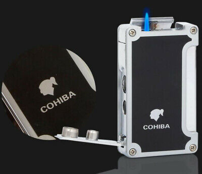COHIBA Black 2 Fire Flame Jet Torch Cigar Windproof Lighter With Cigar Punch