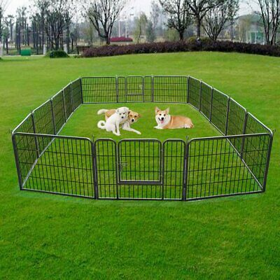 16 Panel Heavy Duty Metal Cage Crate Pet Dog Cat Fence Exercise Playpen Kennel@