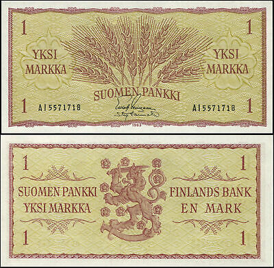 FINLAND BANKNOTE 1 MARKKA - P.98a [sign 4] 1963 UNC