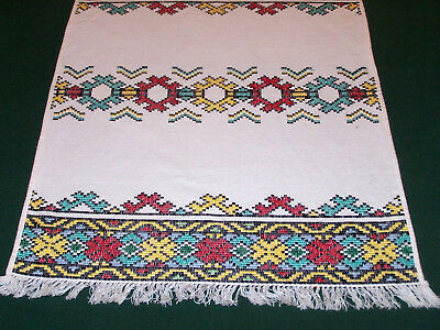 MULTI-COLOR JAQUARD EMBROIDERED TABLE RUNNER, COLORFUL SLOVAKIAN FOLK ART, c1930