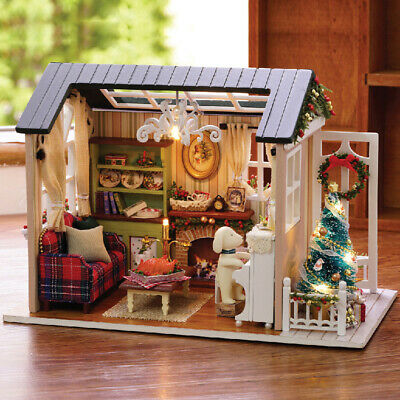 DIY Wooden House Toy Handcraft Dollhouse Miniature Kit with LED Light Furniture