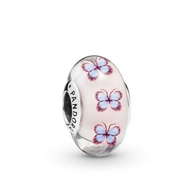 Authentic Pandora Sterling Silver Butterfly Murano Glass Charm Bead 797893