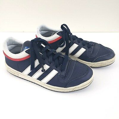 41c08dd3643 Adidas Top Ten Leather Court Shoes Sneakers Boys Youth Sz 6.5 Red White    Blue