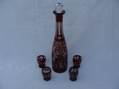 Bohemian Czech Ruby Red to Clear Liquor Decanter Bottle Set W/ 4 Cordial Glasses