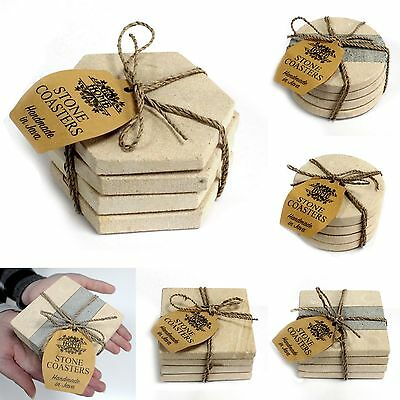 Set of 4 Natural Stone Coasters - Hand-carved Hot Coffee Drinks Mats Mugs Cups