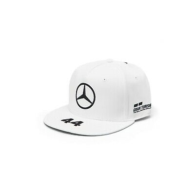 NEW 2019 Mercedes AMG F1 Team Mens Lewis Hamilton WHT Flat brim Cap Hat OFFICIAL