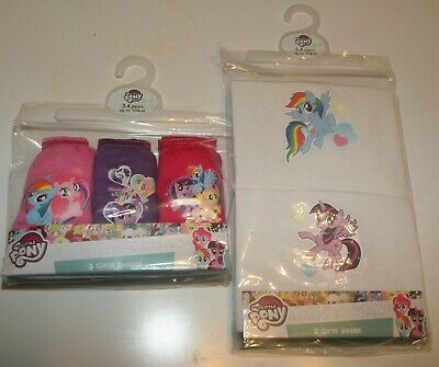 Girls MY LITTLE PONY 100% Cotton Briefs/Knickers & Vests Set Sizes 2-6 Years