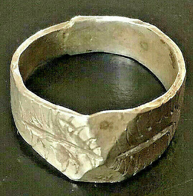 FABULOUS Ancient Viking Silver engraved SYMBOL WARRIOR Ring ARTIFACT QUALITY