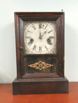 Antique Waterbury Shelf Mantel Clock As Is For Parts Or Restoration