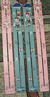 Gisela Graham Kids Height Charts X4 Blue and Pink - Measures Up To 140cms