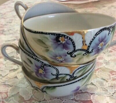 Antique Chinese/Japanese Hand-painted Tea Cup, Eggshell Porcelain Set of 4