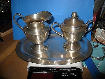 Sterling Sugar Creamer Tray P. Lopez G EAGLE 1 Midcentury Modern Beauties