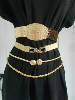Vintage Lot of 4 GOLD Disco Belts, Hippie Dance Party, Clinch Waist Mod Chic 70s