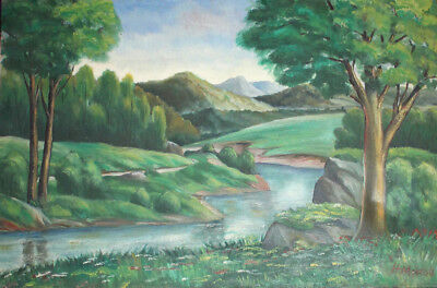 1965 Forest River Landscape oil painting signed