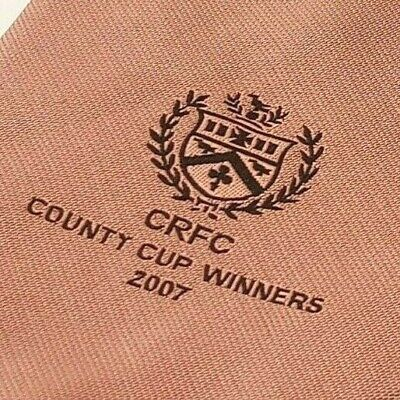 CRFC COUNTY CUP WINNERS 2007 Rugby Club Tie Gold Polyester Vintage T41