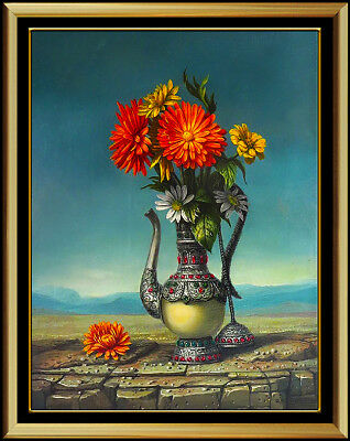 Raymond A Whyte Original Oil Painting On Board Floral Still Life Signed Surreal