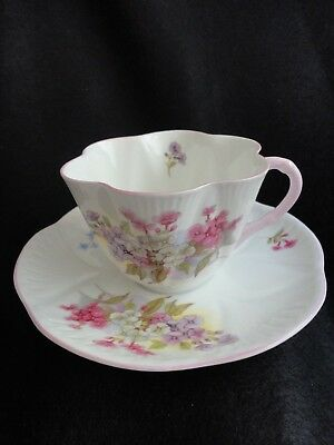 """Shelley Fine Bone China Teacup & Saucer Made in England In the """"Stocks"""" pattern"""