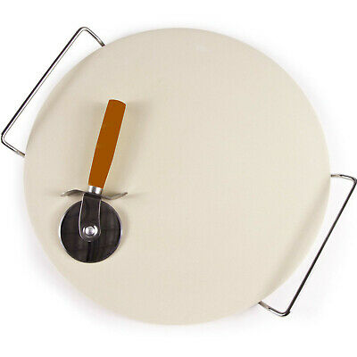 Extra Large Ceramic Pizza Baking Stone Set Chrome Stand 33Cm + Free Pizza Cutter