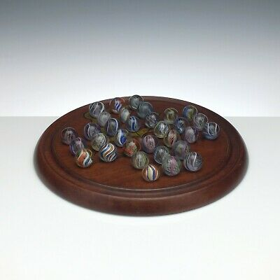 Antique Solitaire Board & 19th Century German Marbles c1870