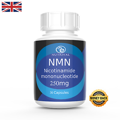 NMN Nicotinamide mononucleotide 250mg capsules (x30), NAD+,Certified >99%  pure