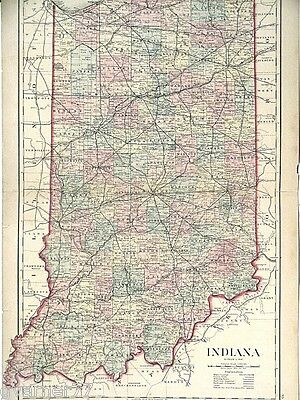 Large Map of Indiana O W Gray 1876 Hand Colored Engraving Vintage Doublepage