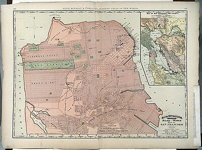 1895 MAP OF SAN FRANCISCO Rand McNally Co Color Litho Engraving Large Doublepage