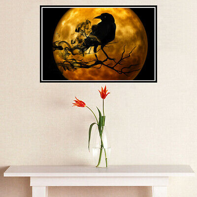 Crow Dark Night Canvas Painting Poster Picture Home Wall Bar Art Decor Unframed