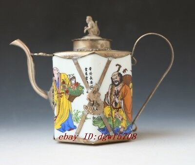 Collectible Old Handwork Painting Porcelain Inlay Cupronickel Teapot Ornaments
